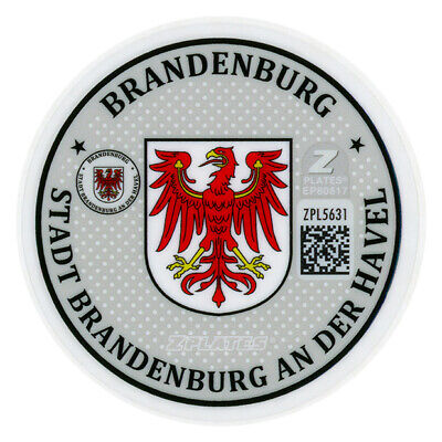 Brandenburg Germany German License Plate Registration Seal & Inspection Sticker