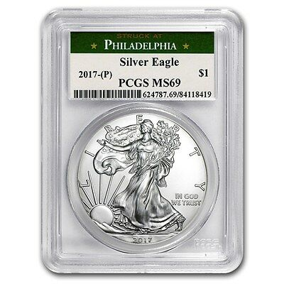2017 (P) Silver Eagle Pcgs Ms69 Green Struck At Philadelphia Label Lowest Price