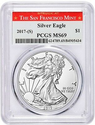 2017 (S) $1 SILVER EAGLE MS69 PCGS STRUCK AT SAN FRANCISCO RED San Fran LABEL