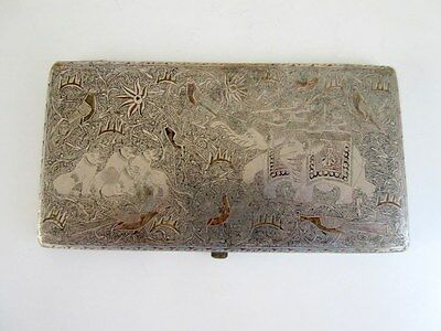 1930's Old Brass Handcrafted Loin Hunting Carving Engraved Cigarette Case Box