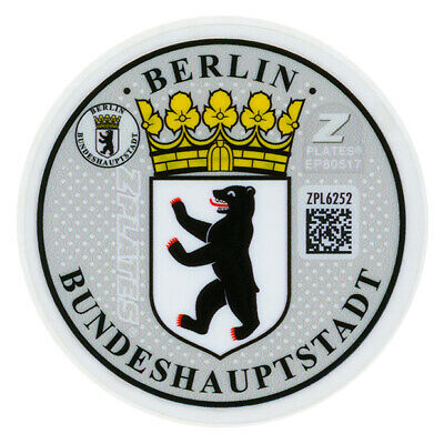 Berlin - German License Plate Registration Seal & Inspection Sticker Set