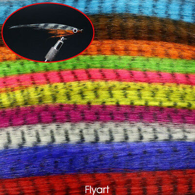 10Colors Fly Fishing Zebra Strips&Veins Pseudo Hair Fibers Fly Tying Material