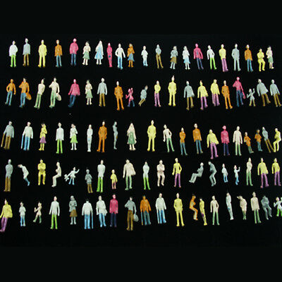 100 pcs. Miniature Figures Diorama Painted Architectural Human Figure TT Scale