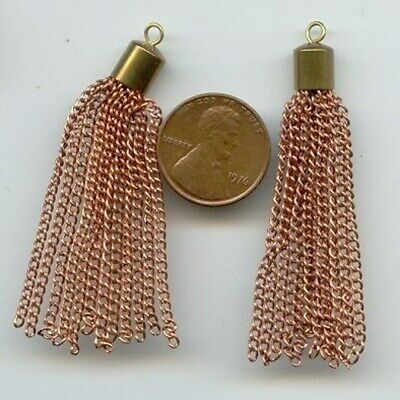 """6 Pieces Vintage Brass Cap Copper Coated Steel 12 Curb Chain 2.25"""" Tassels T64"""