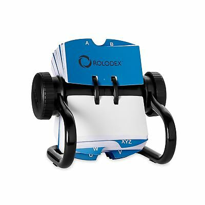 Rolodex Open Rotary Card File With 500 2-1/4 X 4 Inch Cards And 24 Guides, Black