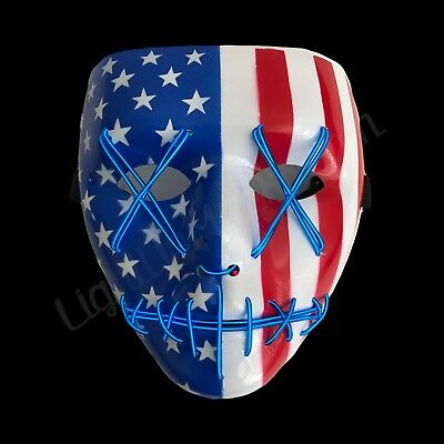"""Light Up Mask """"Stitched"""" American Flag (Halloween 2018 Rave Cosplay Edm Purge)"""