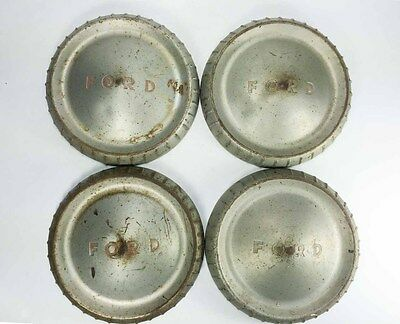 """Vintage 1961-62 FORD Falcon Hub Caps Set of 4 Dog Dish 9 1/2"""" Red Letters 9.5"""""""