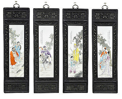 Large Set of 4 Chinese Painting 8 Immortal Figure Porcelain Wall Hanging Plaque