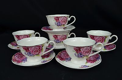 Country Rose Design, New Bone China, Set Of Six Tea Cups & Saucers