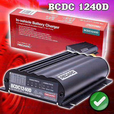 Redarc Bcdc1240D Dual Input 40A Amp In Vehicle Dcdc Battery Charger Agm & Lithiu