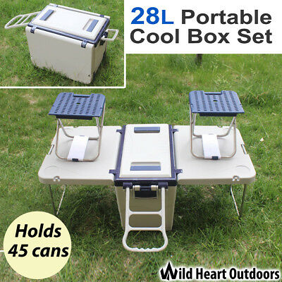 Cool Ice Box Set with Chairs Cooler 28L Portable Foldable Picnic Camping Fishing
