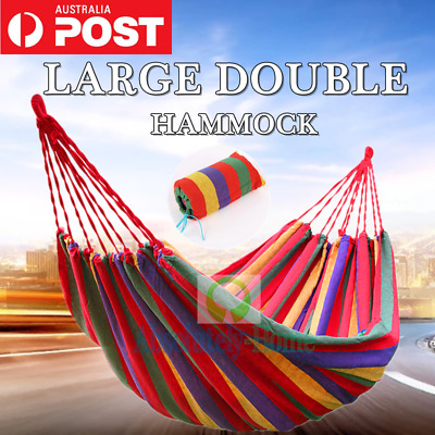 200KG Double Cotton Fabric Hammock Air Chair Travel Swinging Camping 300*150cm