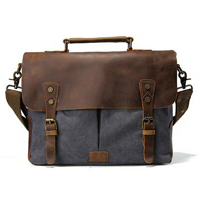 "Man's Leather Canvas Messenger Shoulder Bag Satchel 14"" Laptop Crossbody Handbag"
