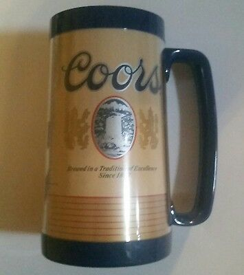 """Vintage Rare Blue Coors Thermo Serv Insulated Beer Mug Cup 6.5"""" Tall 3.5"""" Wide"""