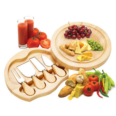 4 Pieces Round Wooden Cheese Board Slide Out Drawer& Knife Service Set Knives