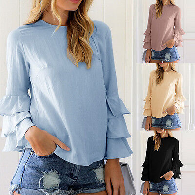 Womens Summer Blue Long Sleeve Casual Blouse Loose Cotton Tops T-Shirt Fashion