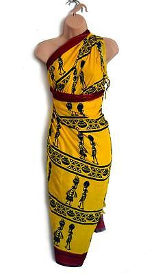 African Summer Sarong Scarf Pareo, Ethnic Swimwear Wall-Hanging Tablecloth Cover