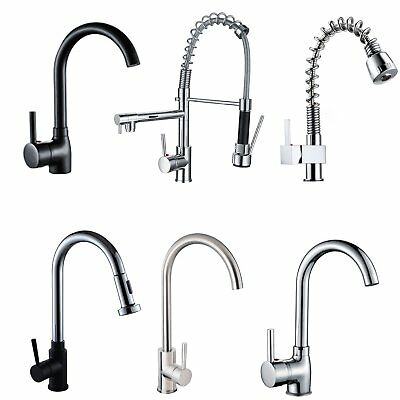 Lead Free Kitchen Mixer Tap Black/Chrome Round Pull Out Swivel Basin Sink Faucet