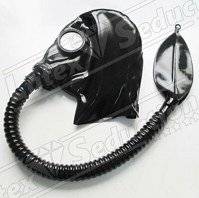 LATEX GASMASK HOOD DETACHABLE REBREATHER & TUBE Rubber Gummi atembeutel