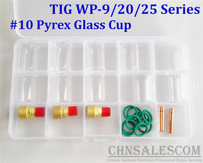 26 pcs TIG Welding  Torch Gas Lens #10 Pyrex Glass Cup Kit for WP-9/20/25