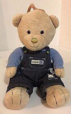 Carters On The Go Bear Plush Musical Crib Toy Car Denim Overalls Rock A Bye Baby