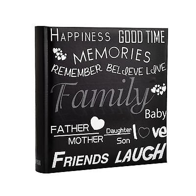 6x4'' Large Slip In Memo Text Art Design Photo Album For 200 Holds -  Black
