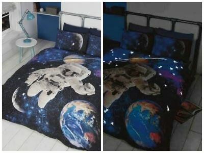 Spaceman Glow In The Dark Bedding Single Double Space Planets Astronaut