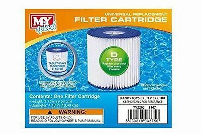 M.Y Splash 4 x Type D Universal Filter Replacement Cartridge Swimming Pool