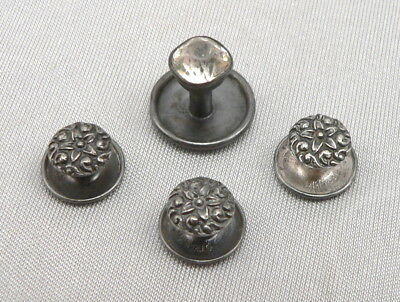 Antique Victorian Edwardian STERLING Silver Set of 3 Stud Buttons Plus 1 Paste