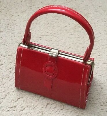 Vintage Girl's Purse 1960's Red Patent Leather