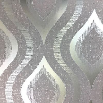 Fine Decor Quartz Pewter Gold Glitter Geometric Retro Feature Wallpaper FD41978