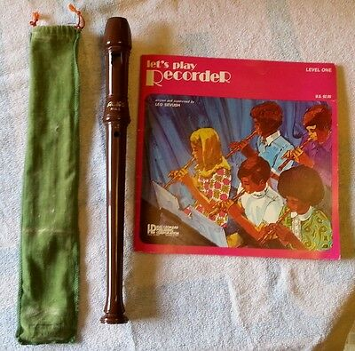 AULOS HGL Brown Plastic Recorder Flute Music Instrument Vintage 1979 with Book