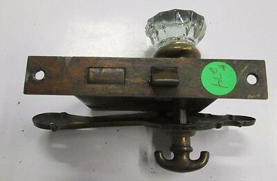 Antique Glass Door Knob Combination W/backplate Escutcheon  For Closet # 274