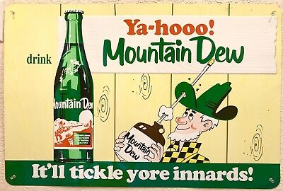 Mountain Dew Sign Vintage Embossed Rare Soda Seldom Seen Condition 9.5+ 👍🏻