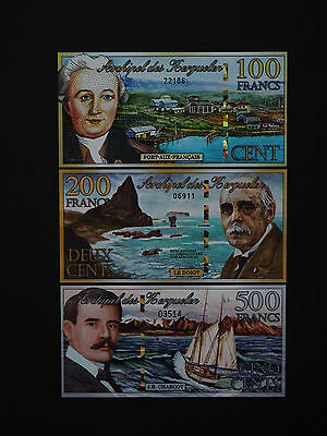 KERGUELEN ISLANDS BANKNOTES  ( France ) Quality Art Notes Set Of Three  MINT UNC