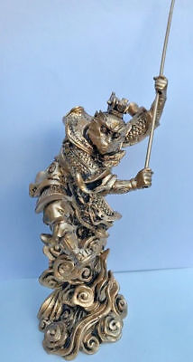 "7"" Fengshui Gold Monkey King Famous Myth Sun Wukong Son Goku Statue Figures"