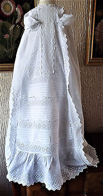 Vintage  Baby Christening Gown/fine Embroidered Front