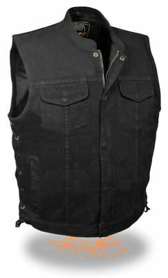 Milwaukee Leather Mens Side Lace Denim Club Vest w/ Hidden Zipper Black LG