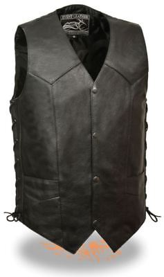 Milwaukee Leather Event Mens Side Lace Biker Vest w/ Gun Pocket Black 2XL