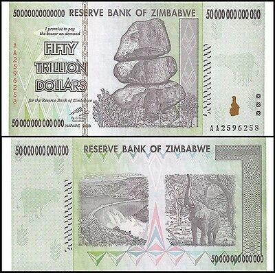 20 x 50 Trillion Zimbabwe Dollars, Uncirculated, 2008/Pick #91. FREE SHIPPING!!