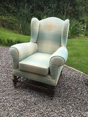 Antique Oak Barley Twist Wing Back Sofa