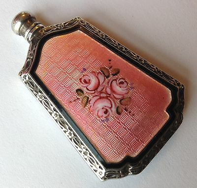 Antique Sterling Silver & Pink Guilloche Enamel Scent Perfume Bottle Roses