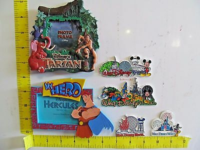 Lot of 6 Vintage Walt Disney World Magnet Refrigerator Tarzan Hercules Photo
