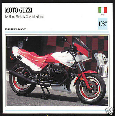 1987 Moto Guzzi Le Mans Mark IV Special Edition Motorcycle Photo Spec Info Card