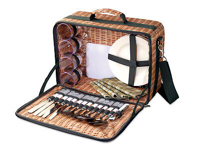 picnic Basket with picnic set included - 4 people - Thatched print - Waterproof
