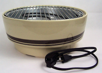 "Contempra USA Stoneware Electric Indoor Grill Char-B-Que 12"" Round"