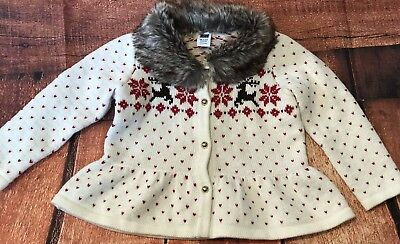 Janie And Jack Heart And Christmas Holiday  Fur Sweater Reindeer Size 18-24 Mos