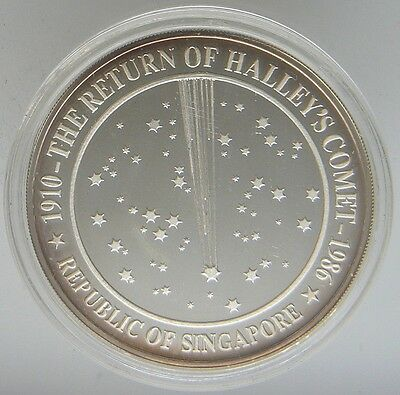 SCARCE 1986 RETURN Of HALLEY'S COMET 1 oz 999 Silver Proof Singapore Mint