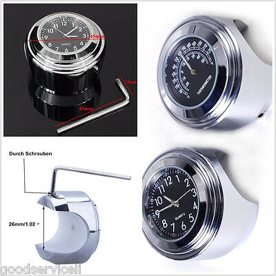 Motorcycle Bikes Handlebar Mount Dial Clock and Thermometer Temp Gauge New 7/8''