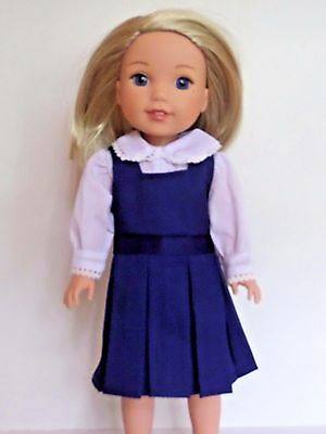 """Navy Blue Jumper Outfit Dress Fits Wellie Wishers 14.5"""" American Girl Clothes"""